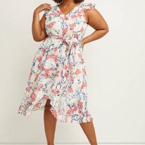 Lane Bryant chiffon faux-wrap Midi Dress NEW